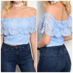 Tops - Blue Off The Shoulder Fitted Top, Lace Detail